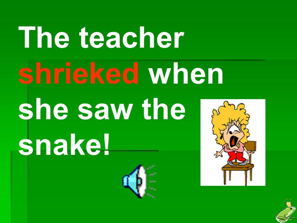 The teacher shrieked when she saw the snake!