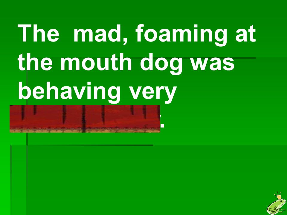The mad, foaming at the mouth dog was behaving very suspiciously.