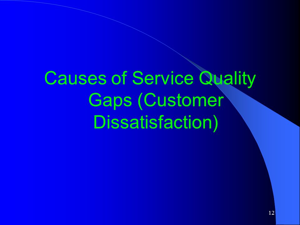 Causes of Service Quality Gaps (Customer Dissatisfaction)