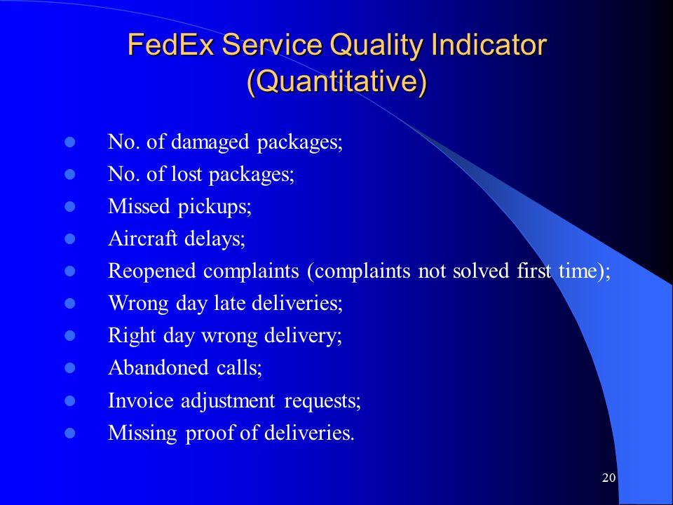 FedEx Service Quality Indicator (Quantitative)