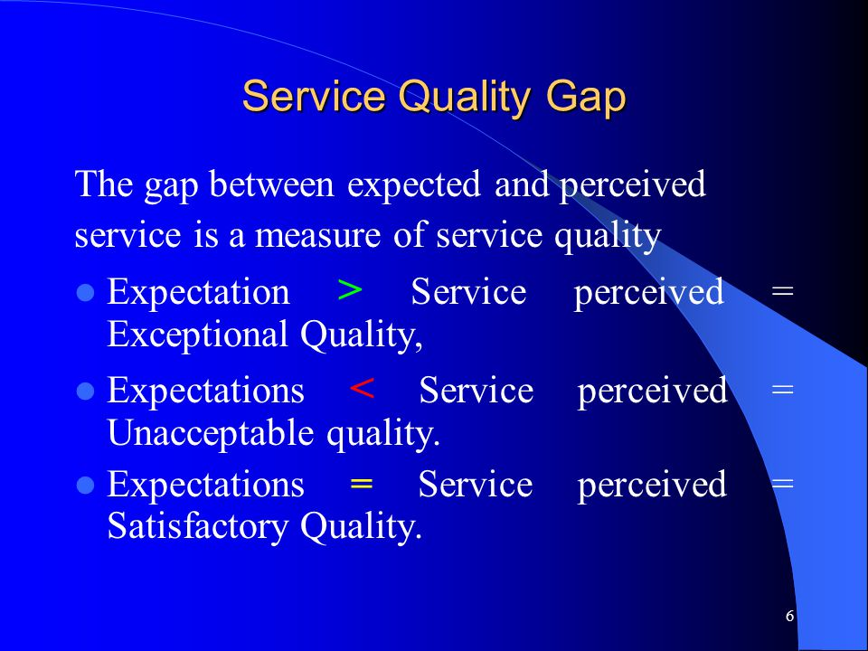 Service Quality Gap The gap between expected and perceived
