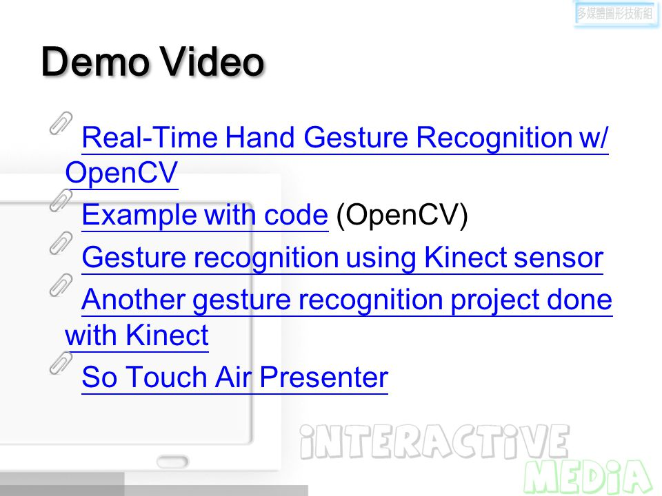 Demo Video Real-Time Hand Gesture Recognition w/ OpenCV