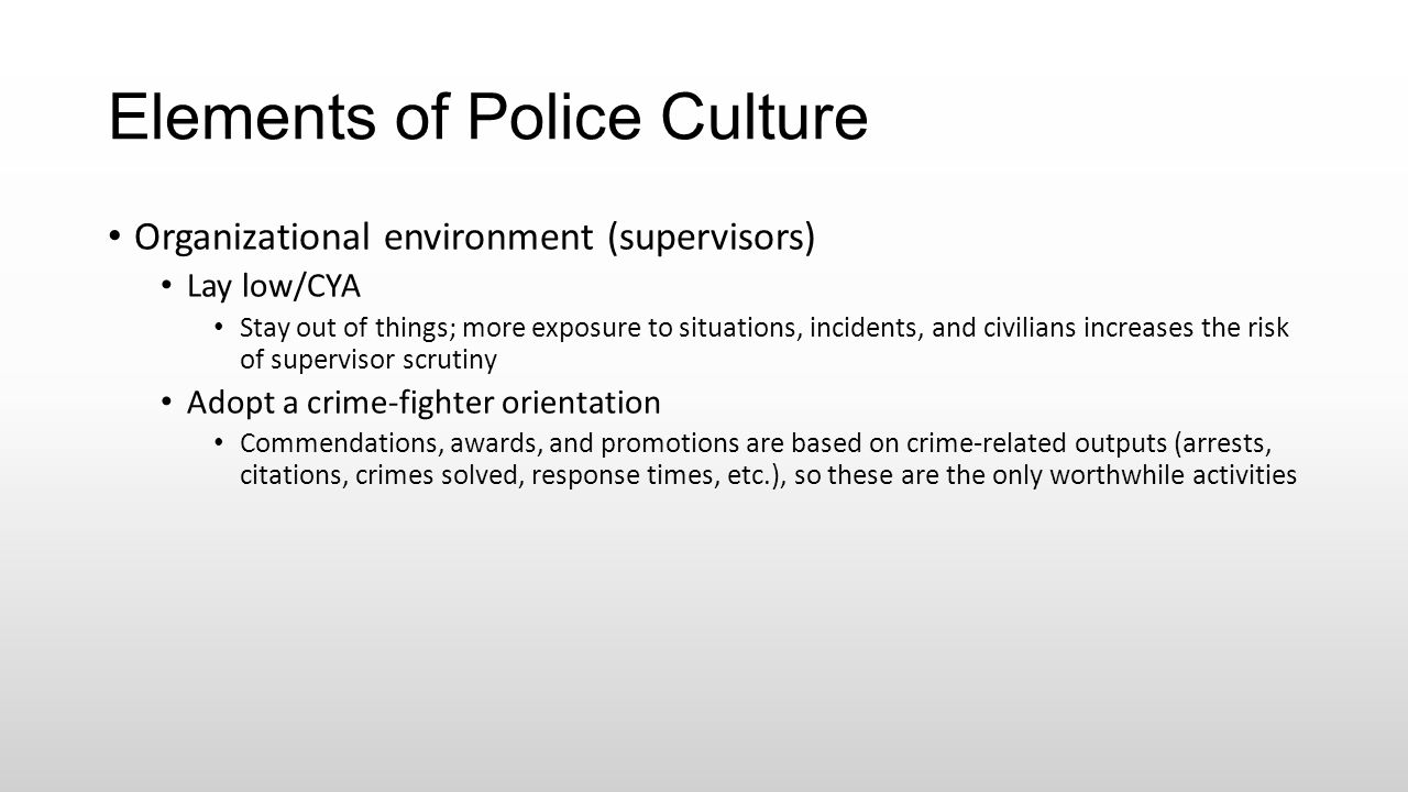 Elements of Police Culture