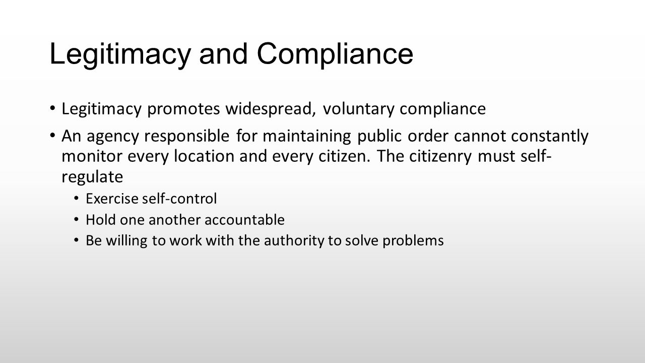 Legitimacy and Compliance