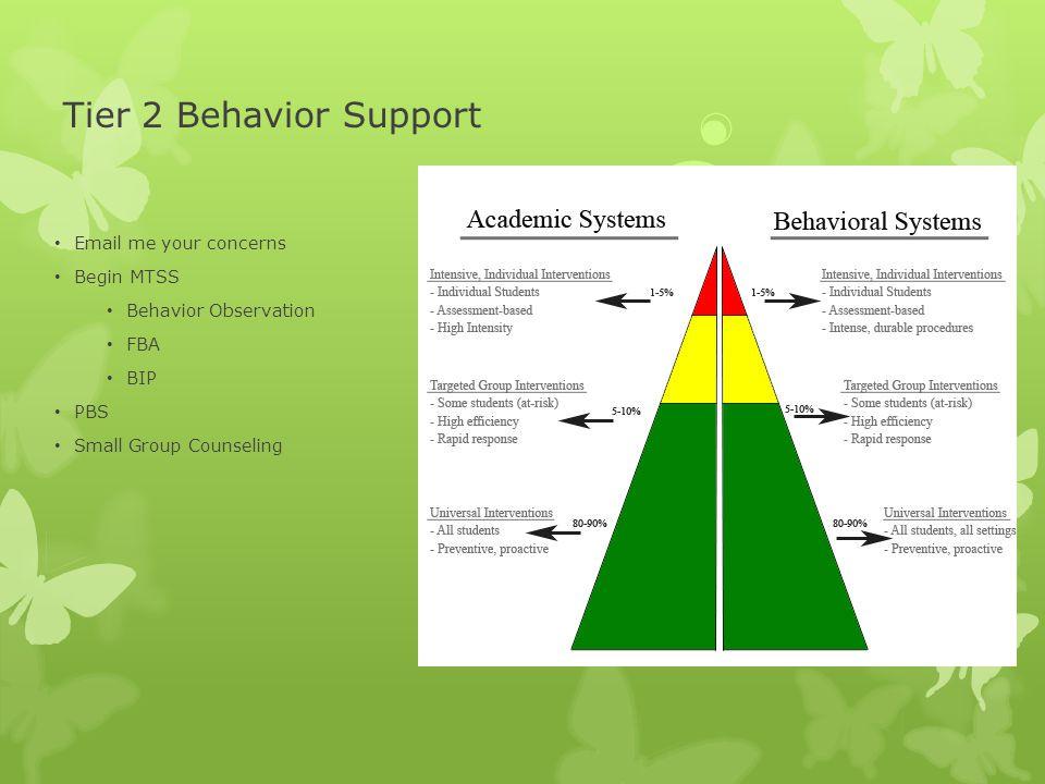 Tier 2 Behavior Support Email me your concerns Begin MTSS