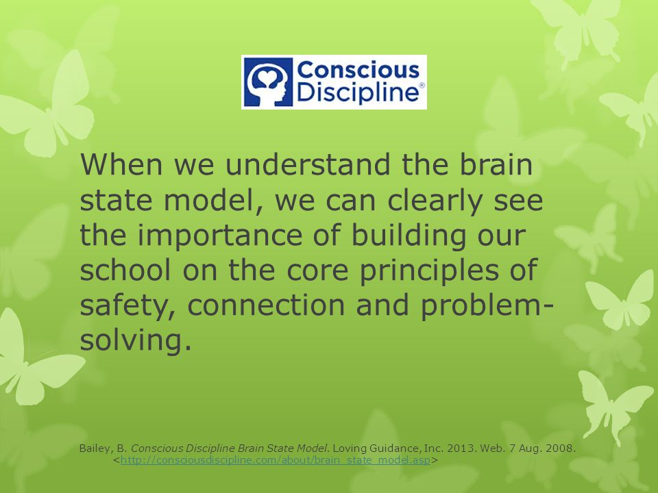 When we understand the brain state model, we can clearly see the importance of building our school on the core principles of safety, connection and problem- solving.