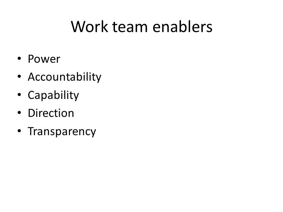 Work team enablers Power Accountability Capability Direction