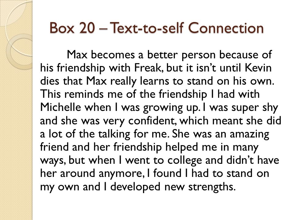 Box 20 – Text-to-self Connection