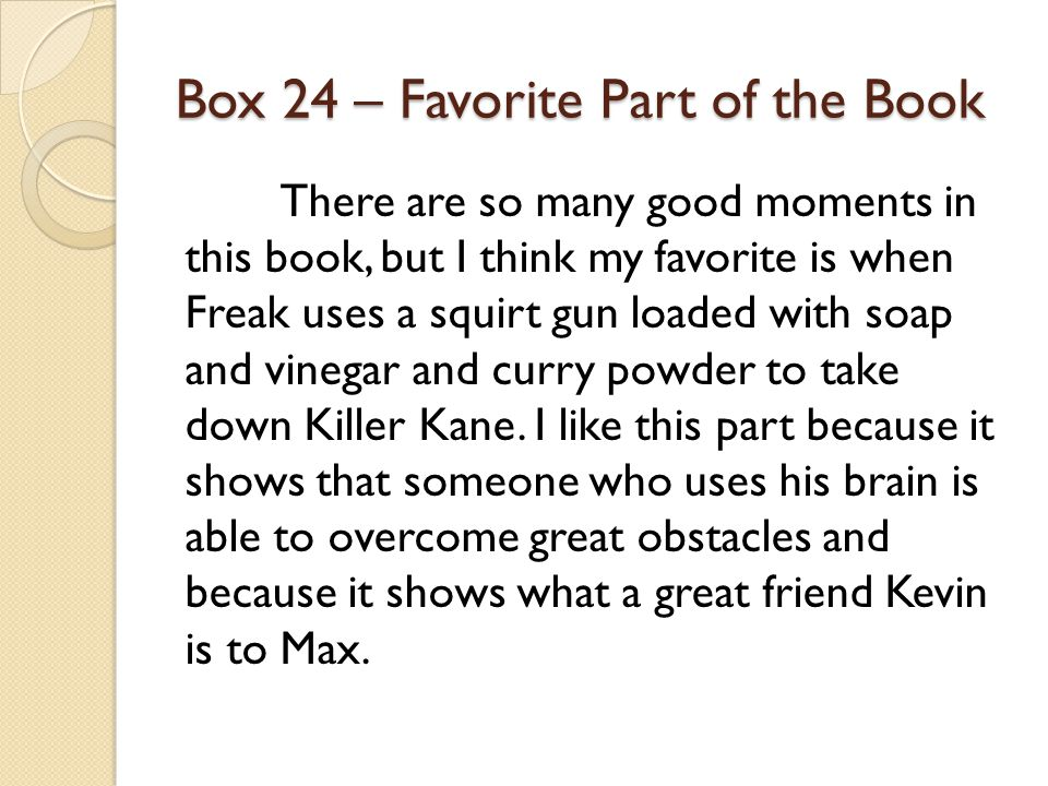 Box 24 – Favorite Part of the Book