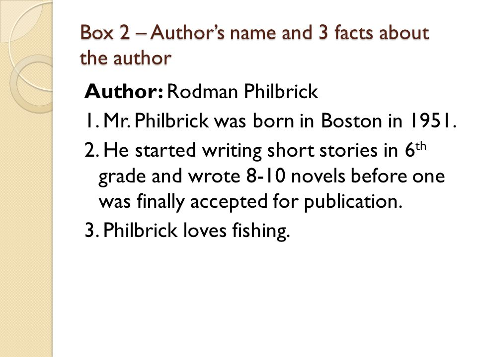 Box 2 – Author's name and 3 facts about the author