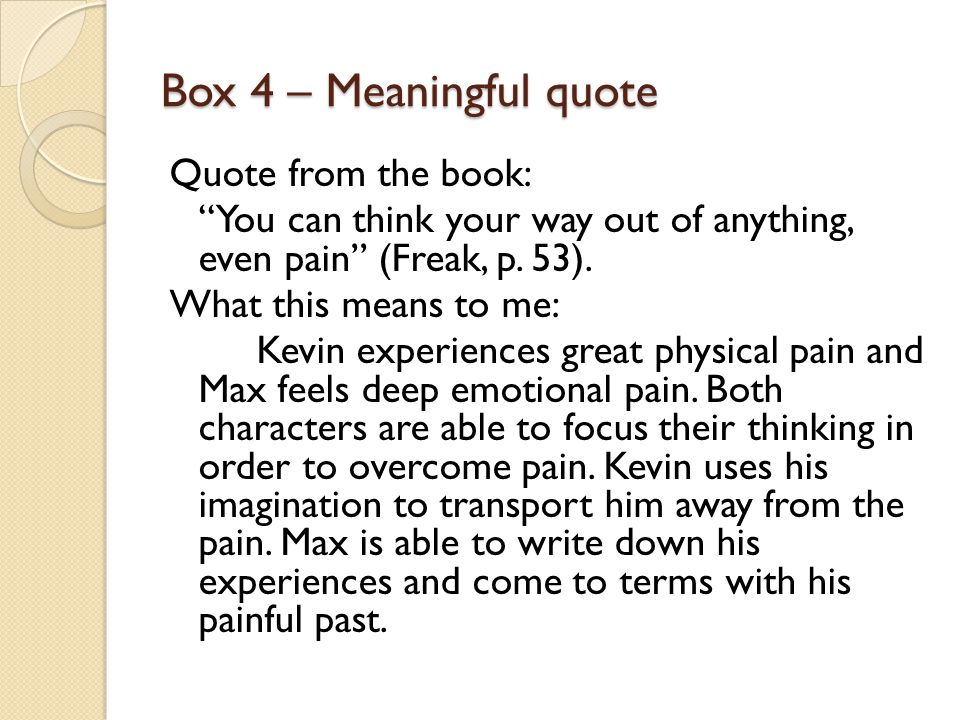 Box 4 – Meaningful quote