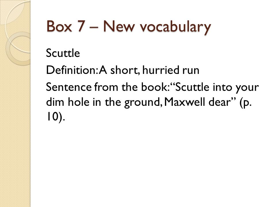 Box 7 – New vocabulary