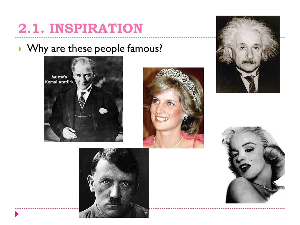 2.1. INSPIRATION Why are these people famous
