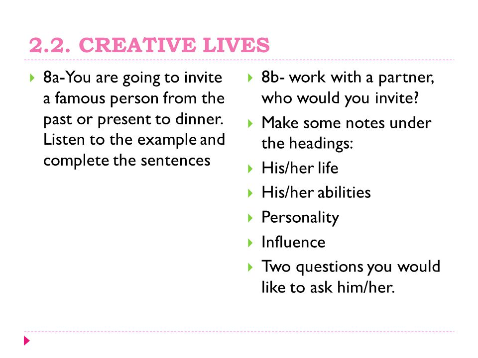 2.2. CREATIVE LIVES