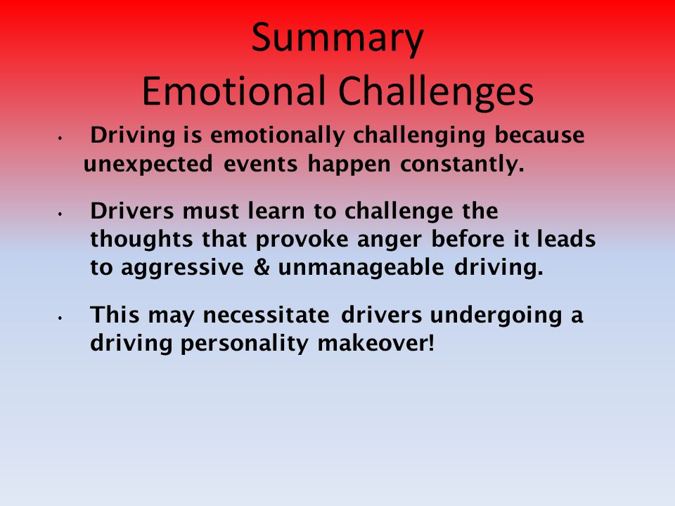 Summary Emotional Challenges
