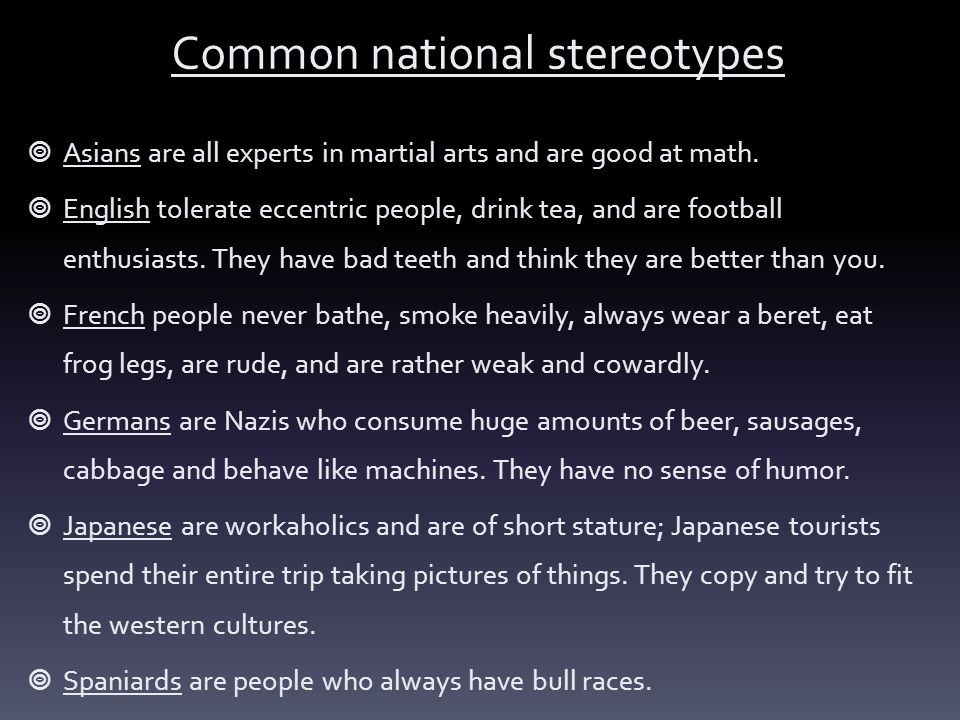 Common national stereotypes