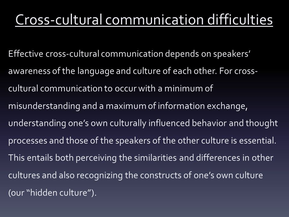 Cross-cultural communication difficulties