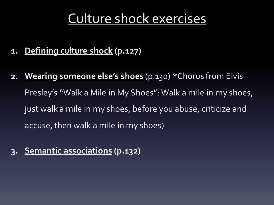 Culture shock exercises