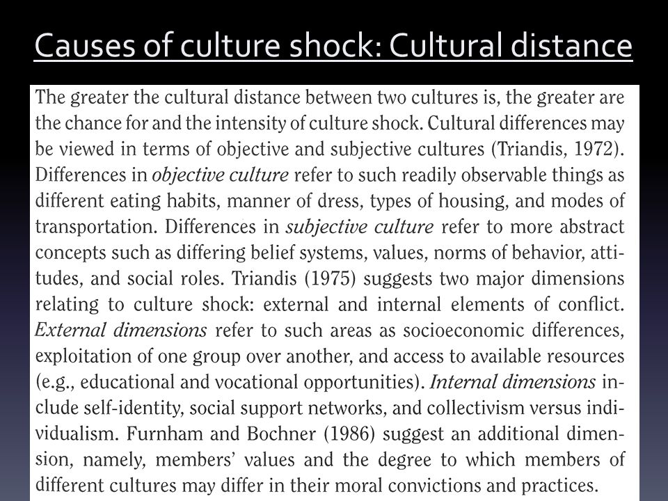 Causes of culture shock: Cultural distance
