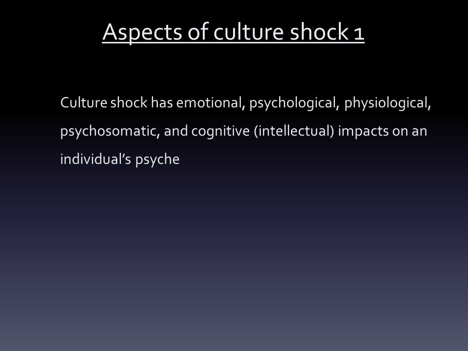 Aspects of culture shock 1
