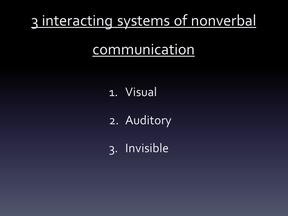 3 interacting systems of nonverbal communication