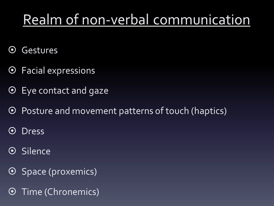Realm of non-verbal communication