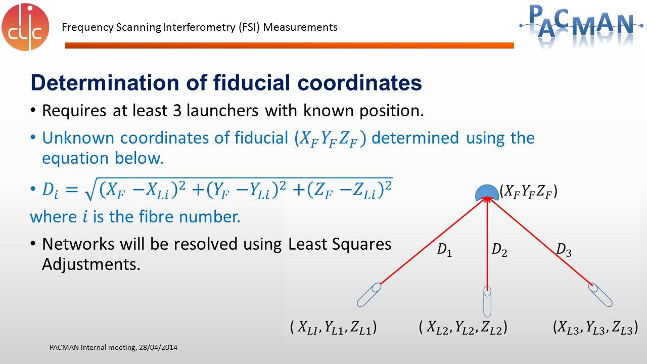 Determination of fiducial coordinates