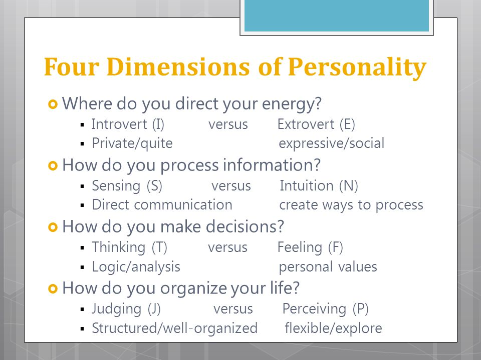 Four Dimensions of Personality