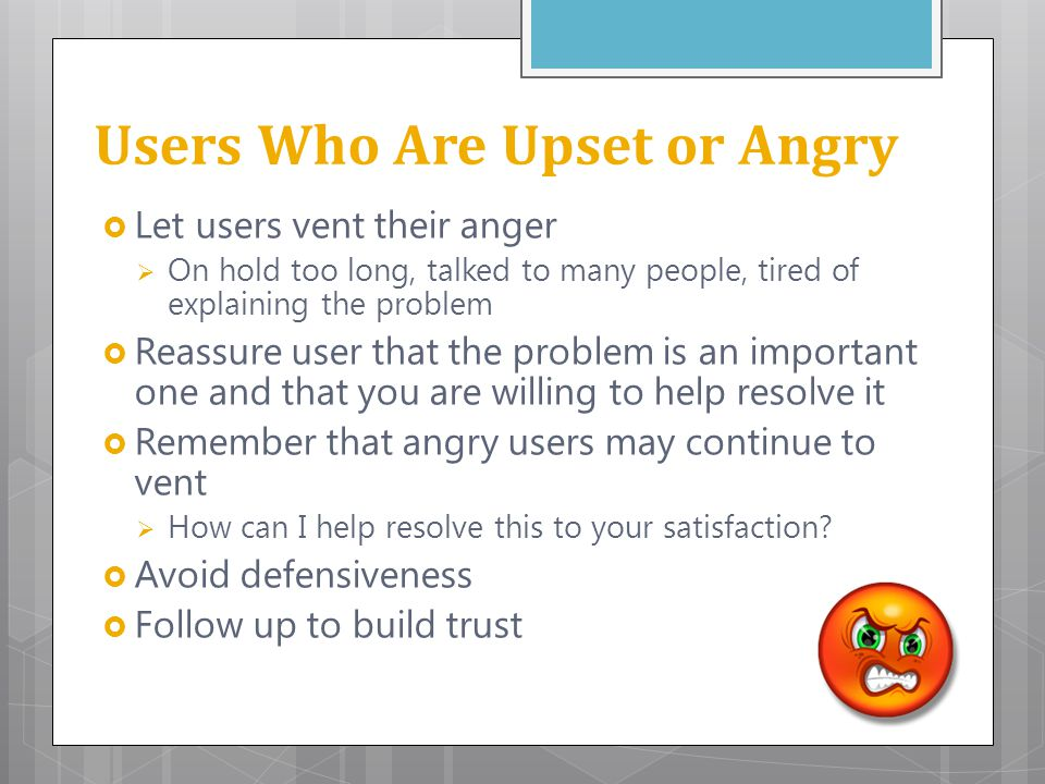 Users Who Are Upset or Angry
