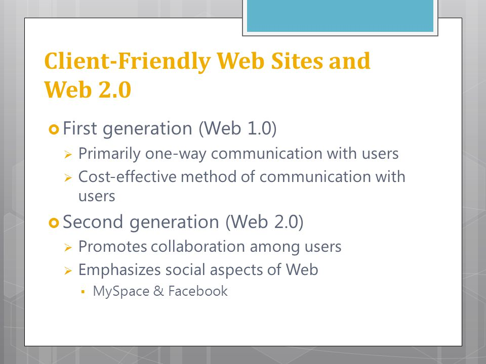 Client-Friendly Web Sites and Web 2.0