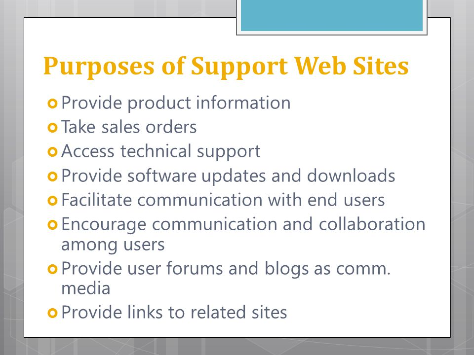 Purposes of Support Web Sites