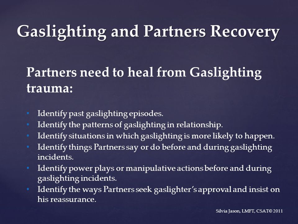 Gaslighting and Partners Recovery