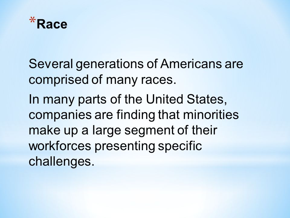 Race Several generations of Americans are comprised of many races.
