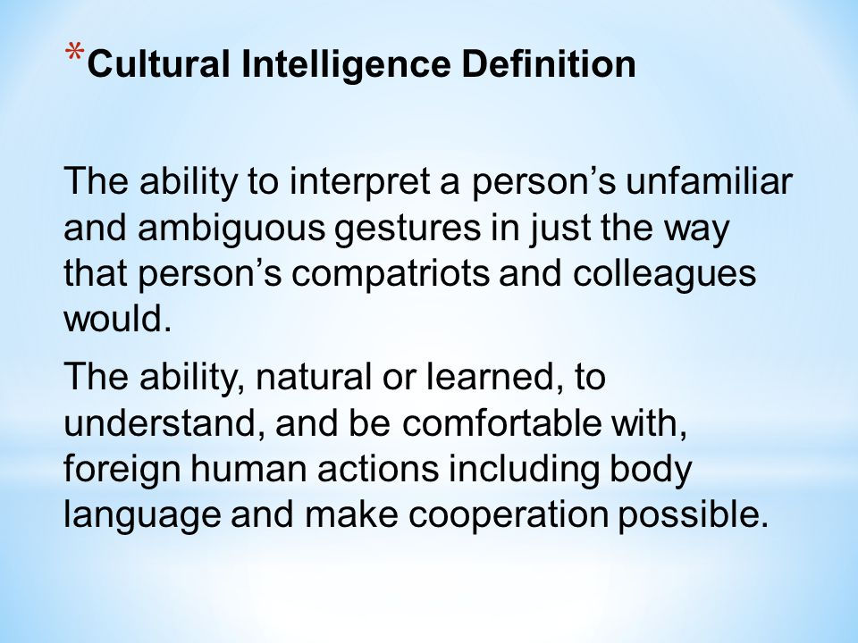 Cultural Intelligence Definition