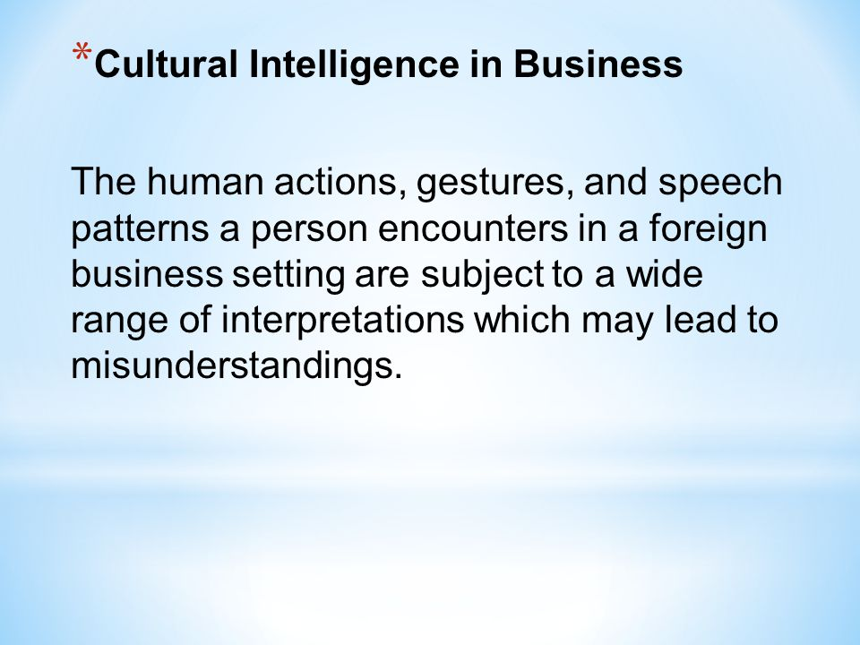 Cultural Intelligence in Business