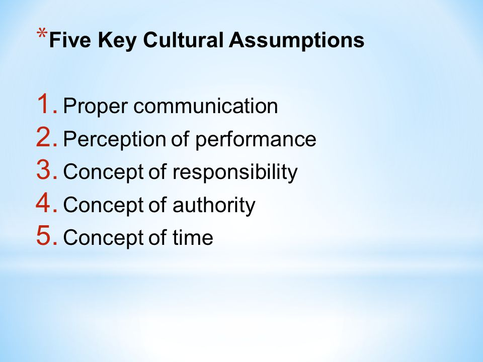 Five Key Cultural Assumptions