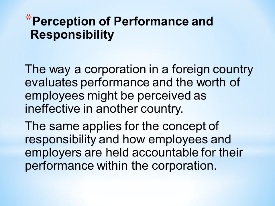 Perception of Performance and Responsibility