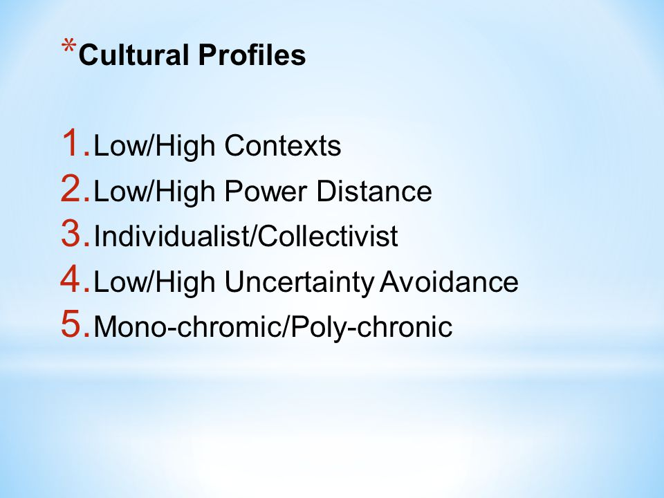 Cultural Profiles Low/High Contexts. Low/High Power Distance. Individualist/Collectivist. Low/High Uncertainty Avoidance.