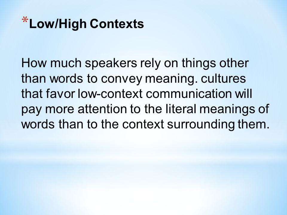 Low/High Contexts