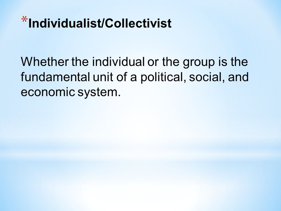 Individualist/Collectivist