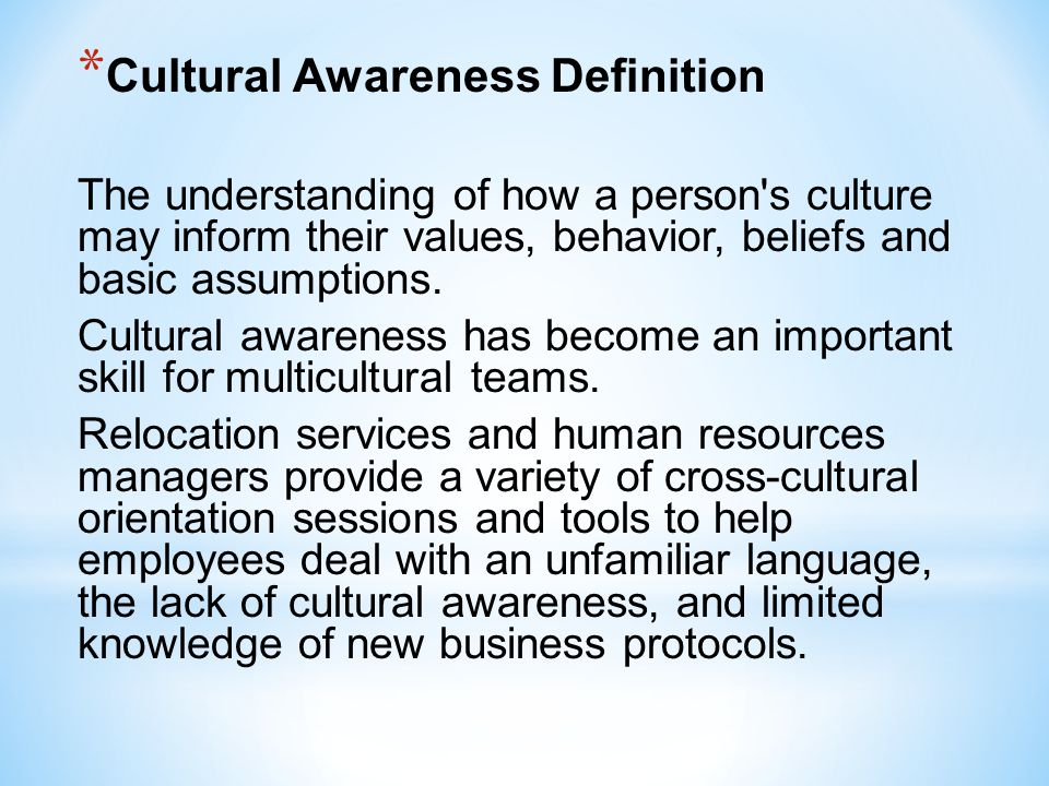 Cultural Awareness Definition