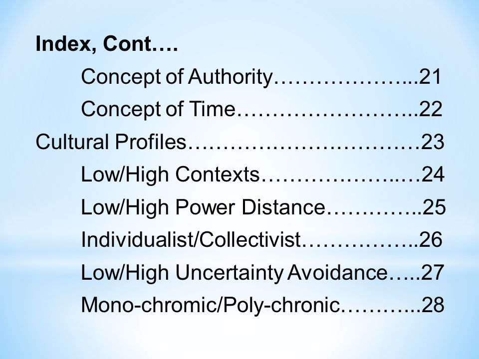 Index, Cont…. Concept of Authority………………. 21 Concept of Time……………………