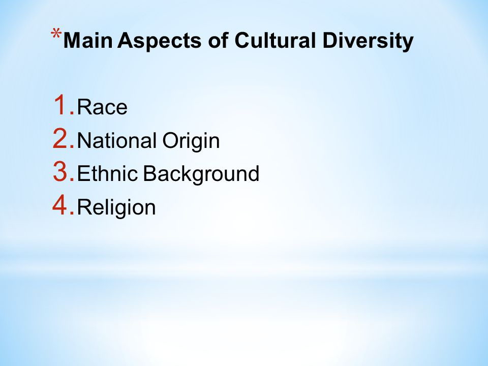 Main Aspects of Cultural Diversity