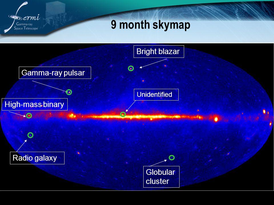 9 month skymap Bright blazar Gamma-ray pulsar High-mass binary