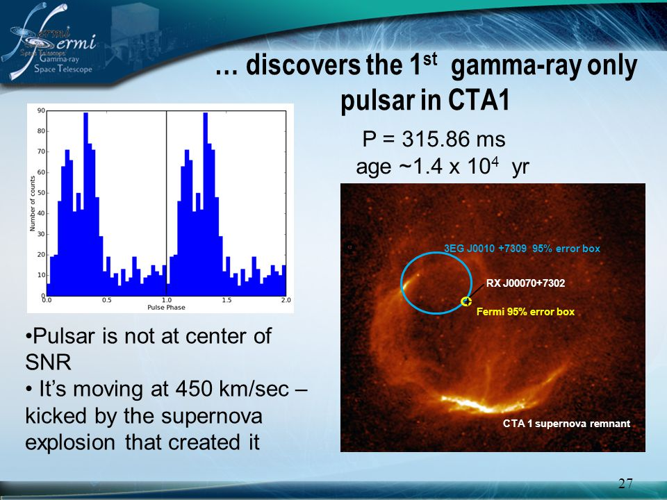 … discovers the 1st gamma-ray only pulsar in CTA1