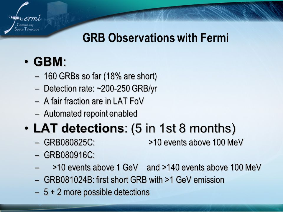 GRB Observations with Fermi