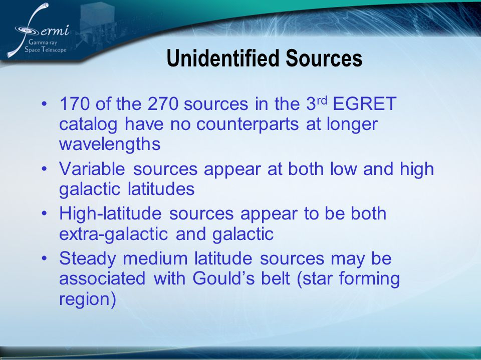 Unidentified Sources 170 of the 270 sources in the 3rd EGRET catalog have no counterparts at longer wavelengths.