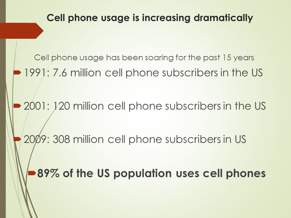 Cell phone usage is increasing dramatically