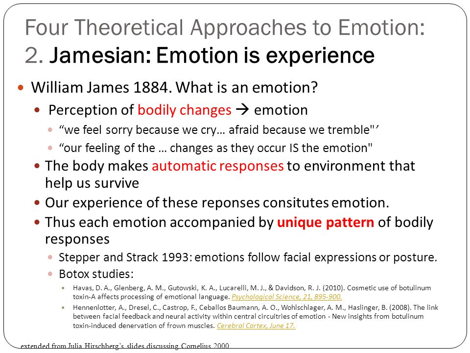 Four Theoretical Approaches to Emotion: 2
