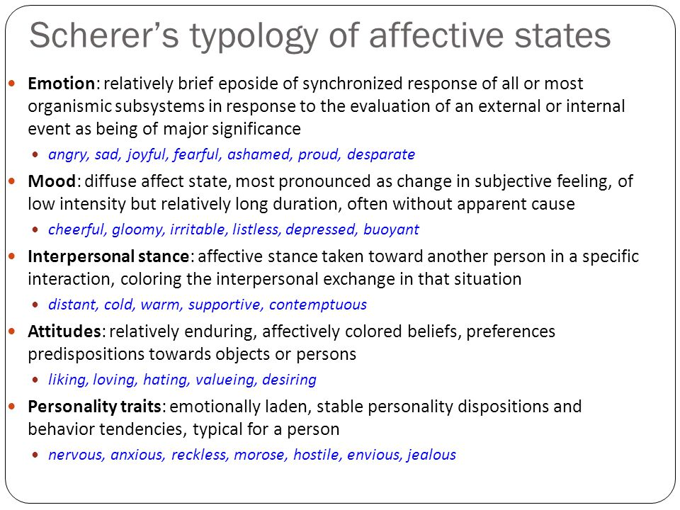 Scherer's typology of affective states